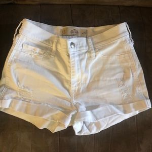 Hollister white high-waisted jean shorts